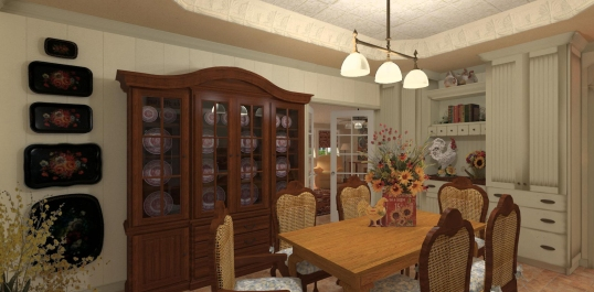 This dining room is in the center of the house and has no outside windows. It's the transitional space that has doorways to all of the other major parts of the home.