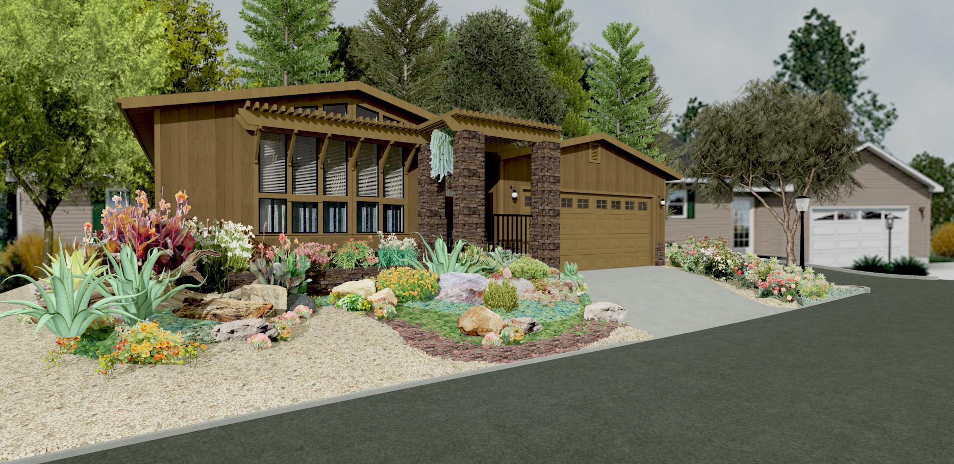 Rendering pamdesigns for Stone landscaping ideas